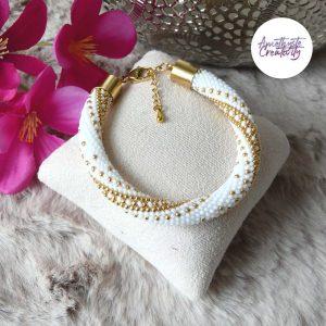 """ϟ Collection """"Electric Shine"""" : Bracelet Crocheté Acier Inoxydable en Spirales avec Perles Miyukis"""