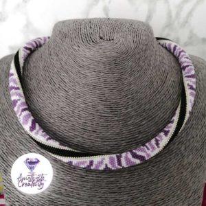 """Collection """"Leopard of Color"""" : Collier Crocheté Acier Inoxydable en Spirales avec Perles Miyukis"""
