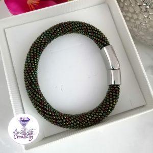Bracelet Aimanté En Acier Inoxydable et Crocheté en Spirales avec Perles Miyuki